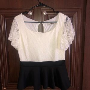 Black and white lace overlay peplum top